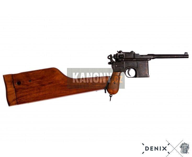Replika pistole Mauser C96 s pažbou