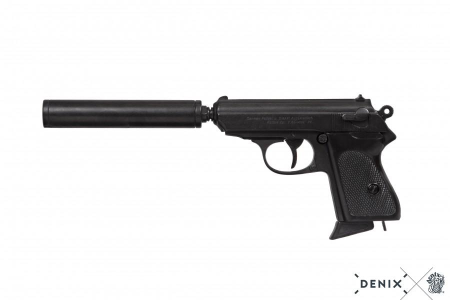 Replika pistole Walther PPK s tlumičem